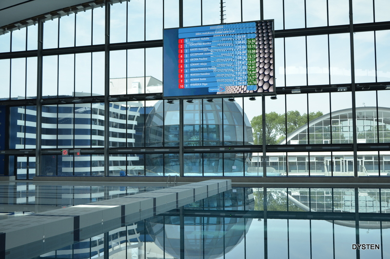 Screen Presenting Swimmers Results In Aqua Lublin