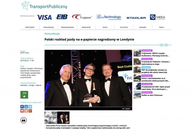 Transport Publiczny - artykuł o firmie Dysten i nowych energooszczędnych technologiach