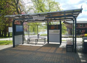 Bus shelters with LED and LCD displays